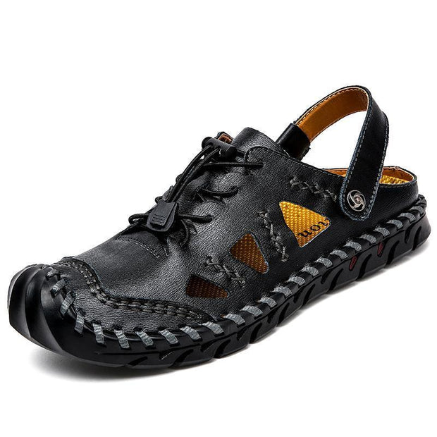Large Size Men Hand Stitching Closed Toe Comfy Soft Leather Sandals 125394 Black / Us 6.5 Shoes
