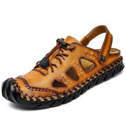 Large Size Men Hand Stitching Closed Toe Comfy Soft Leather Sandals 125394 Yellow Brown / Us 6.5