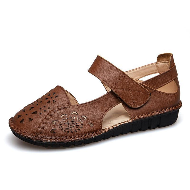 Lady Dongdong Sandals Embroidered Retro Fashion Comfortable Soft Sole Leather Shoes 126186 Brown /