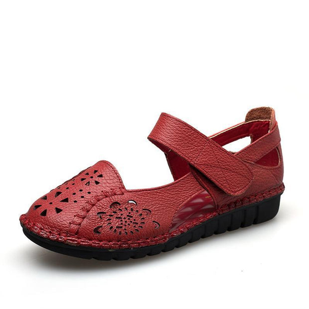 Lady Dongdong Sandals Embroidered Retro Fashion Comfortable Soft Sole Leather Shoes 126186 Red / Us