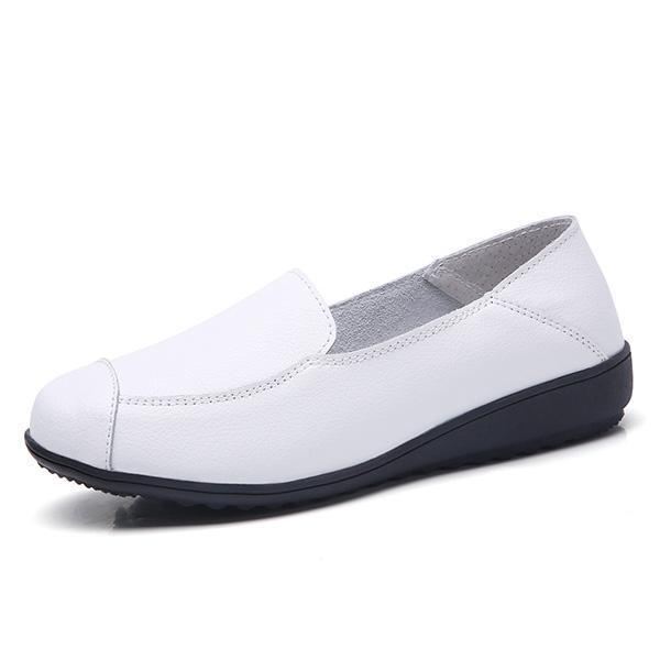Casual Flat Shoes Driving Office Moccasins Leather Peas Large Size Womens Boat 126930 White / Us 5