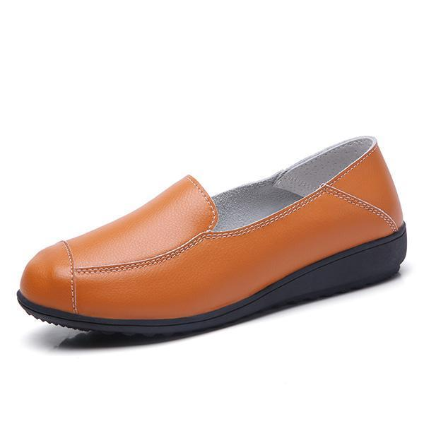 Casual Flat Shoes Driving Office Moccasins Leather Peas Large Size Womens Boat 126930 Orange / Us 5
