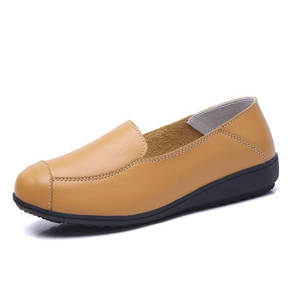 Casual Flat Shoes Driving Office Moccasins Leather Peas Large Size Womens Boat 126930 Yellow / Us 5