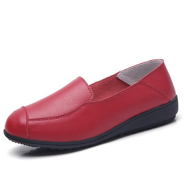 Casual Flat Shoes Driving Office Moccasins Leather Peas Large Size Womens Boat 126930 Wine Red / Us