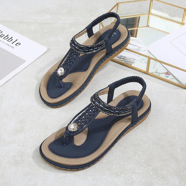 Women Hot Sale Summer Cool Woven Flats Shoes Female Large Size Sandals