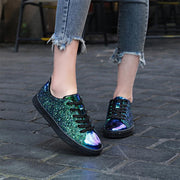 Women Lace Up Glitter Metallic Light Weight Sneakers Shoes