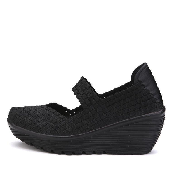 Summer Women Platform Shoes Woven Loafers Handmade Slip On Nylon Wedges Female Footwear 127157 Black