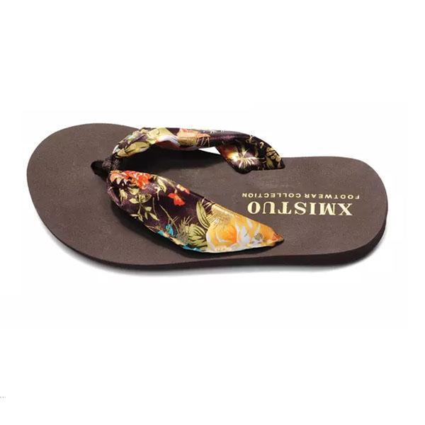 Women Bohemia Floral Beach Slippers Thongs Flip Flops 124962 Shoes