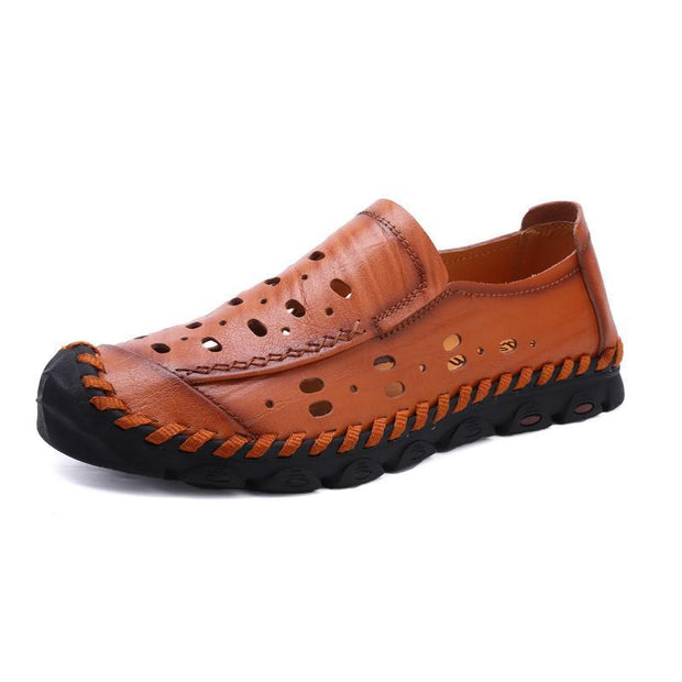 Hole Hole Shoes Mens Outdoor Sandals Leather 128006 Red Brown / Us6.5 Men Shoes