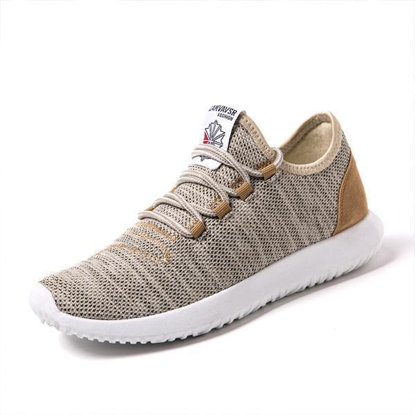 Summer Mens Fashion Wild Outdoor Flying Woven Sports Shoes Non-Slip Wearable Casual 128028 Beige /