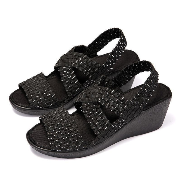 Summer Women Sandals Breathable Wedges Shoes 128287 Black / Us4