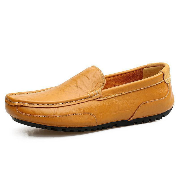 Mens Fashion Summer Outdoor Cowhide Casual Shoes Non-Slip And Wear-Resistant Soles 128402 Yellow /