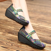 Summer Women Platform Shoes Woven Loafers Handmade Slip On Nylon Wedges Female Footwear 127157
