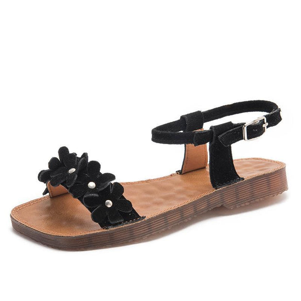 Ladies Summer Flower Casual Sandals 128719 Black / Us 4 Women Shoes