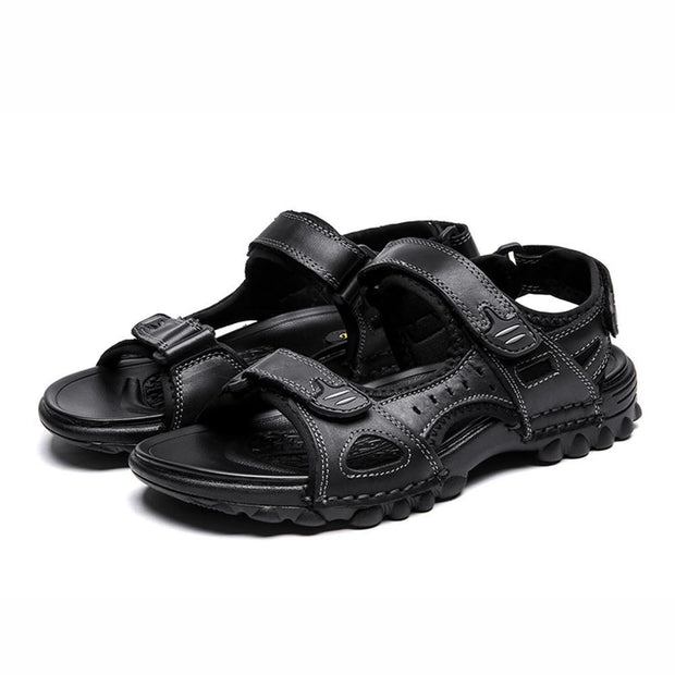 Mens Sport Outdoor Sandals Trail Leather Water Sandal Shoes 128890 Black / Us 6.5 Men