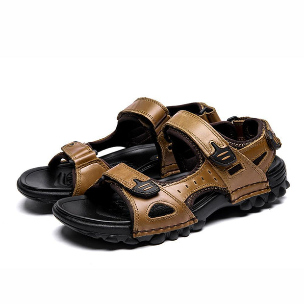 Mens Sport Outdoor Sandals Trail Leather Water Sandal Shoes 128890 Brown / Us 6.5 Men