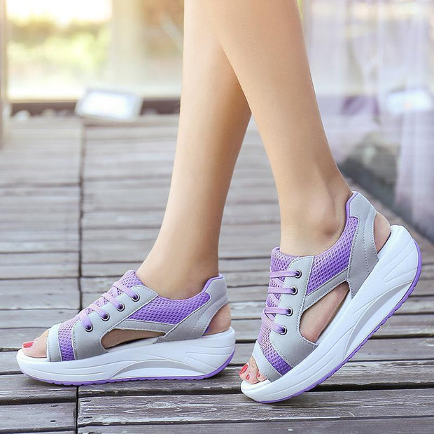 Summer Ladies Platform Comfortable Sandals 122297 Purple / Us 5 Women Shoes