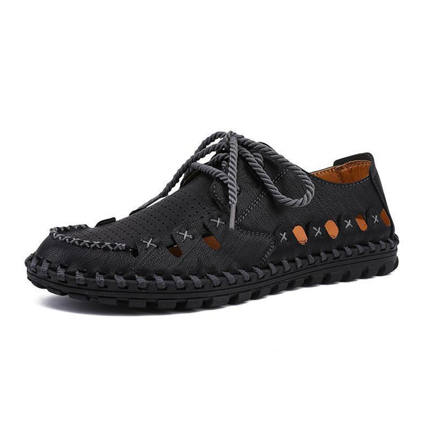 Men Microfiber Leather Hollow Out Outdoor Slip Resistant Sandals 129215 Black / Us 6.5 Shoes