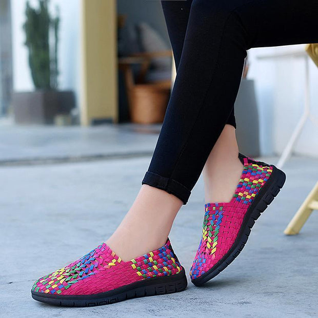 Women Multicolor Elasticized Fabric Casual Plaid Weave Flats Slip On Sneakers Walking Shoes 129041