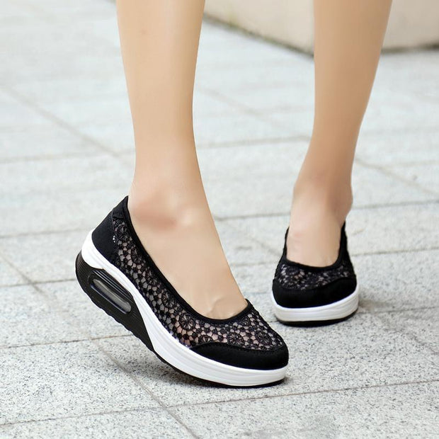 Womens Lace Breathable Slip On Platform Shoessecond -30% By Codebts30 Women Shoes