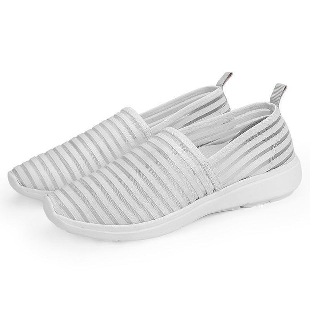 Women Fashion Casual Shoes Mesh Flat With Cotton Striped Soft Comfortable Walking 130203 White / Us