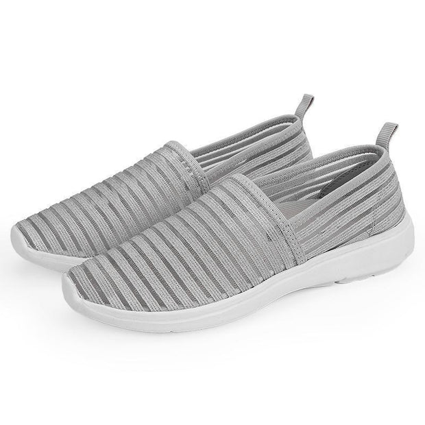 Women Fashion Casual Shoes Mesh Flat With Cotton Striped Soft Comfortable Walking 130203 Gray / Us 5