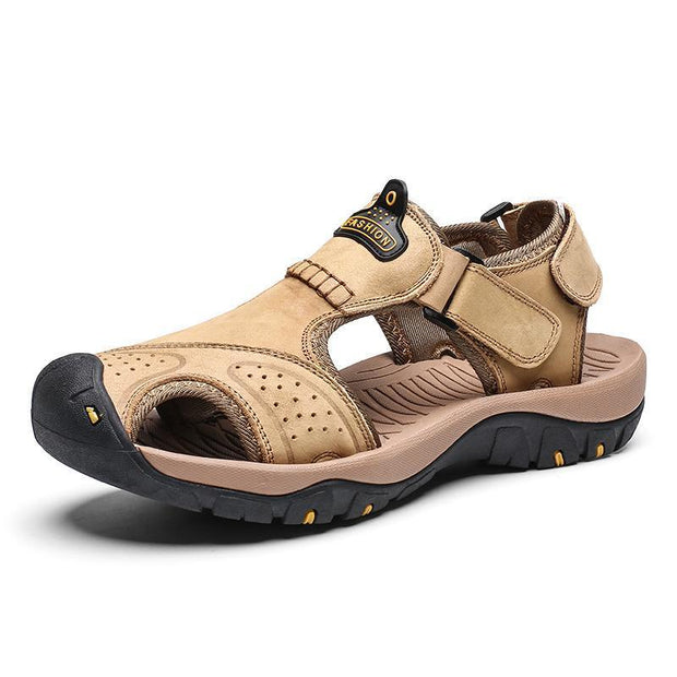 Mens Summer Breathable Leather Casual Outdoor Beach Sandals 118326 Khaki / Us 6.5 Men Shoes