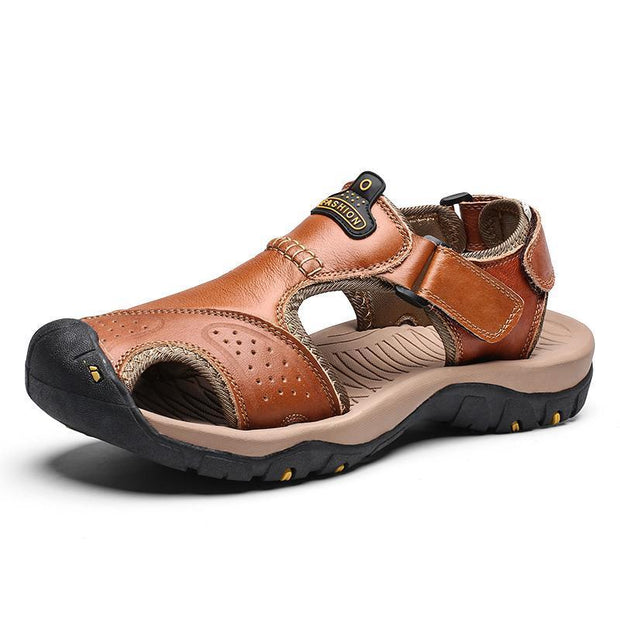 Mens Summer Breathable Leather Casual Outdoor Beach Sandals 118326 Light Brown / Us 6.5 Men Shoes