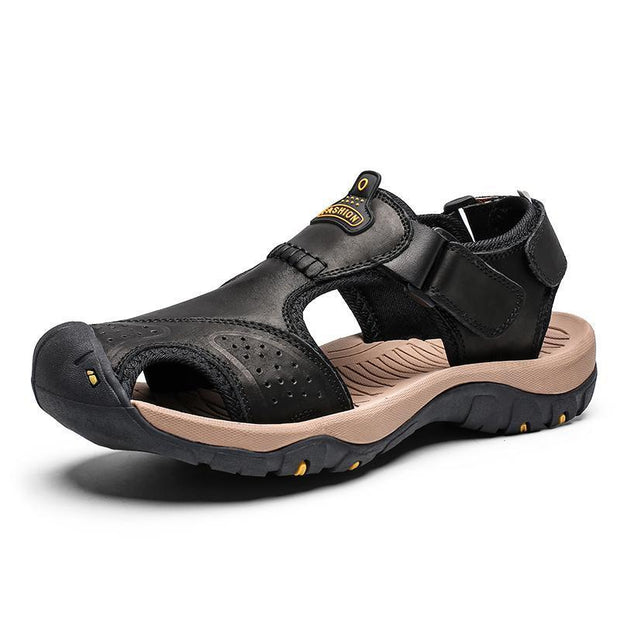 Mens Summer Breathable Leather Casual Outdoor Beach Sandals 118326 Black / Us 6.5 Men Shoes