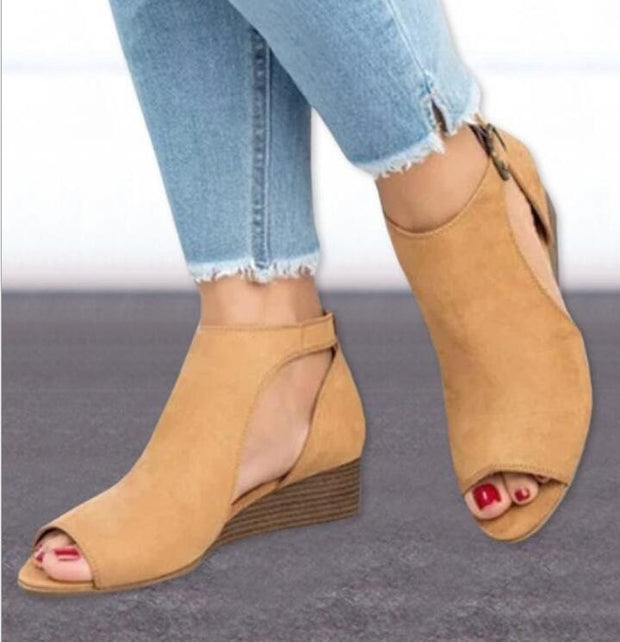 Woman Wedge Buckles Fish Mouth Sandals Gladiator Mid Heel Ladies Rpeep Toe Women Shoes 131092 Women