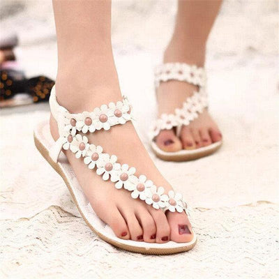 Women Bohemia Flowers Splice Clip Toe Flat Slip On Sandals Shoes