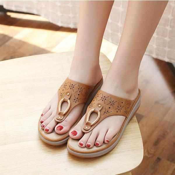 Women Shoes Comfortable Clip Toe Soft Sole Beach Casual Flat Sandals