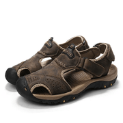 Mens Summer Breathable Leather Casual Outdoor Beach Sandals 118326 Dark Brown / Us 6.5 Men Shoes