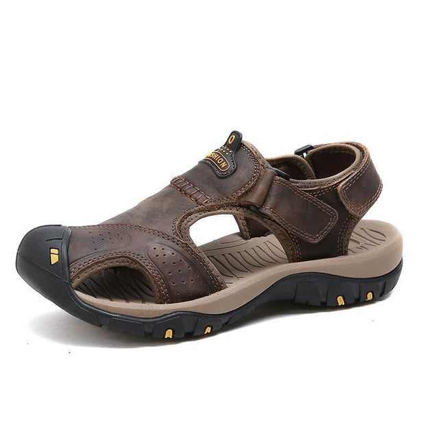 Mens Summer Breathable Leather Casual Outdoor Beach Sandals 118326 Black-Brown / Us 6.5 Men Shoes