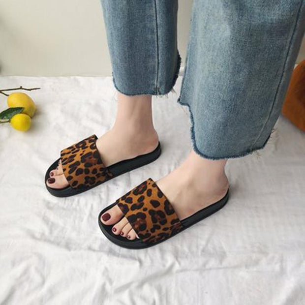 Women Leopard Opened Toe Home Casual Flat Slides Slippers 132221 Shoes