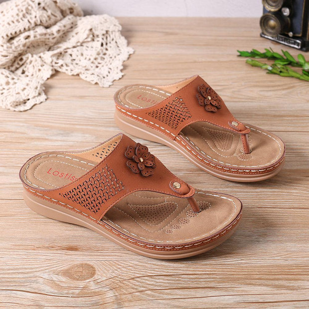 Women Hollow Out Clip Toe Flip Flops Beach Casual Holiday Slippers Shoes