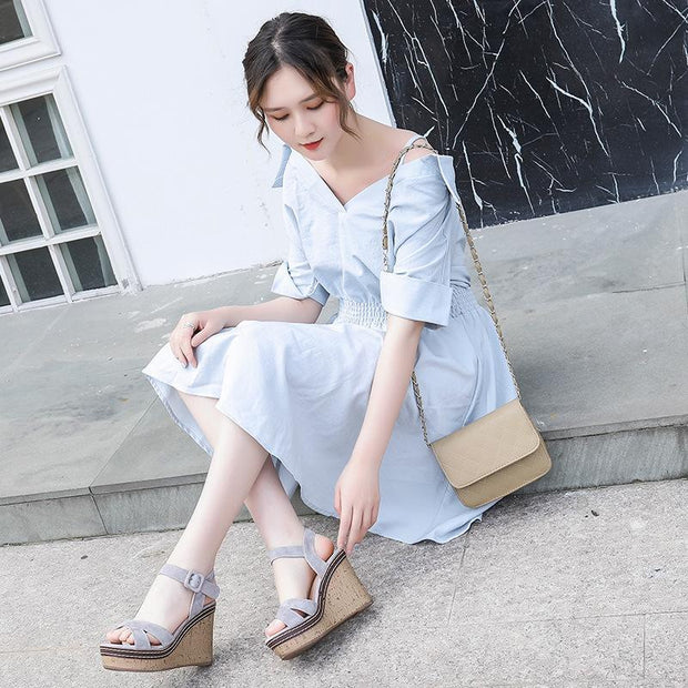 2019 New Korean Version Of The Platform Thick Waterproof Wedge Sandals Female 131013 Women Shoes