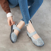Lady Dongdong Sandals Embroidered Retro Fashion Comfortable Soft Sole Leather Shoes 126186 Women