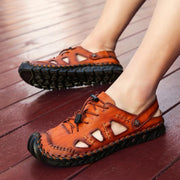 Large Size Men Hand Stitching Closed Toe Comfy Soft Leather Sandals Shoes