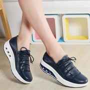 Large Size New Women's Shoes Four Seasons Casual Shoes Leather Thick Platform Shoes 117411