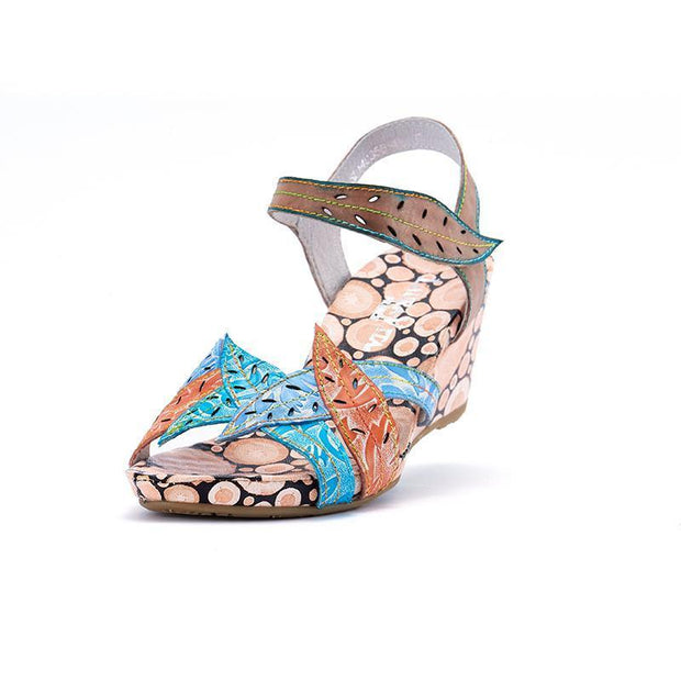 Laura Vita Ailsa Retro Genuine Leather Handmade Painted Velcro Original Comfortable Sandal 131135