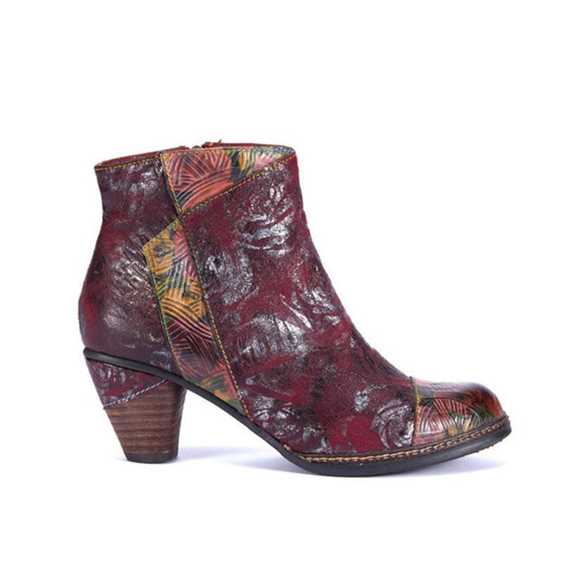 Laura Vita Retro Hand Painted Splicing Pattern Low Heel Zipper Genuine Leather Ankle Boots For Women