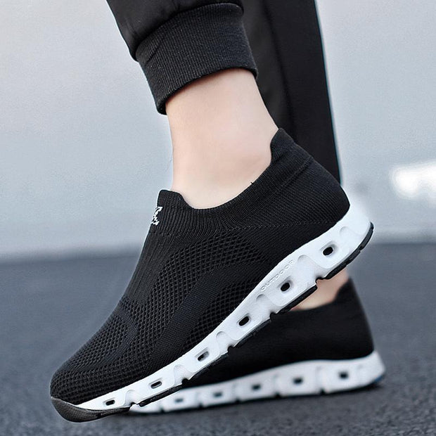Man breathable mesh black sneakers shoes 120443