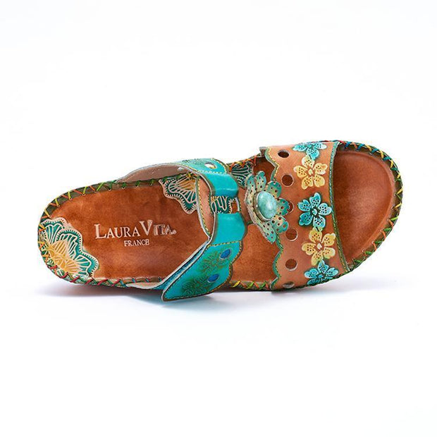LAURA VITA AMY Retro Genuine Leather Handmade PAINTED VELCRO Original Comfortable SANDAL 131151