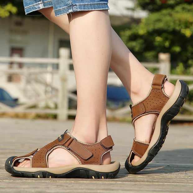 Men Anti-Collision Toe Adjustable Heel Strap Outdoor Leather Sandals 120721 Shoes