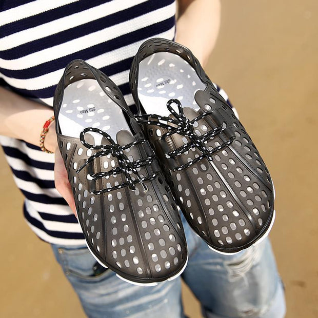 Men Hollow Out Breathable Flat Casual Lace Up Outdoor Beach Sandals 131829 Shoes