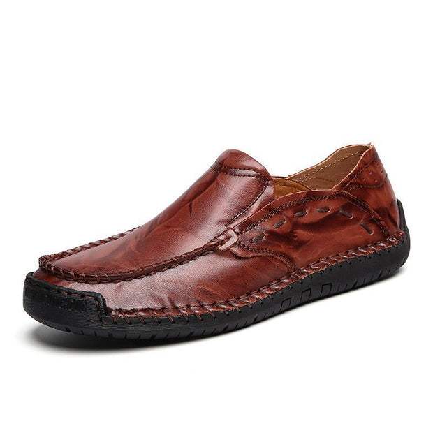 Large Size Men Hand Stitching Soft Slip On Casual Leather Shoes 122357