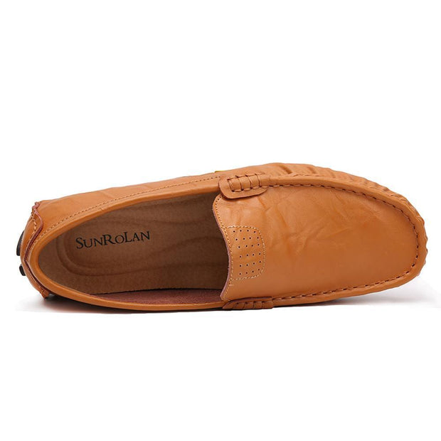Men Moccasin Slippers Cowhide Leather Upper Fashion Style Driving Shoes 125318