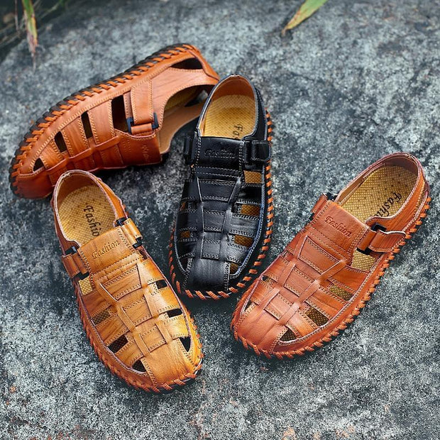 Men Soft Cow Leather Large Size Hand Stitching Hook Loop Sandals 118945 Shoes