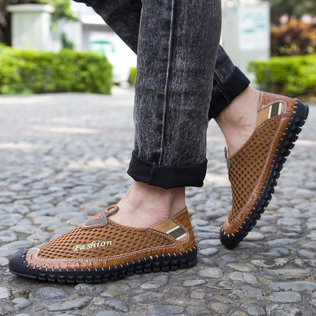 Spring And Summer The Male Soft Bottom Shoes Net Face Hollow Out Lightweight Breathable Casual